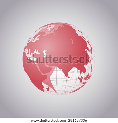 Wireframe world globe vector illustration