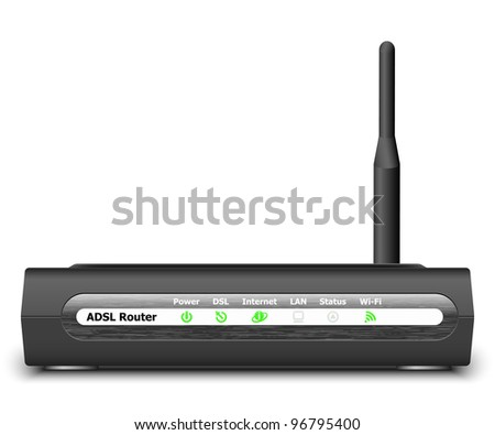 Wireless ADSL Router Icon. Vector Illustration - stock vector