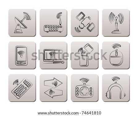 Wireless and communication technology icons - vector icon set - stock vector