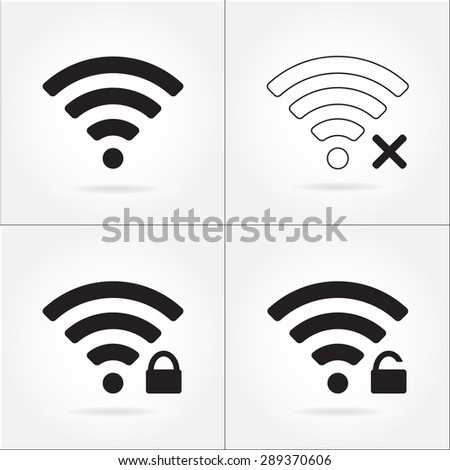 Wireless and wifi icon set for remote internet access. Podcast vector symbol.  - stock vector