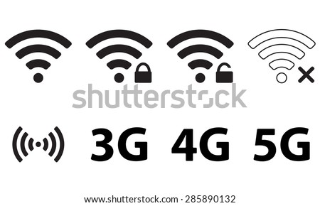 Wireless and wifi icon set for remote internet access. Podcast vector symbol. 3G, 4G and 5G technology symbols. - stock vector