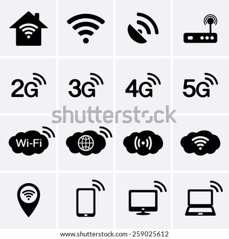 Wireless and Wifi icons. 2G, 3G, 4G and 5G technology symbols. - stock vector