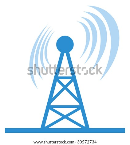 Wireless Antenna - abstract illustration with antenna and wireless wave