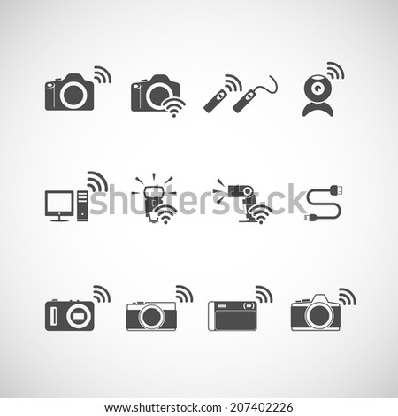 wireless camera icon set, each icon is a single object (compound path), vector eps10 - stock vector
