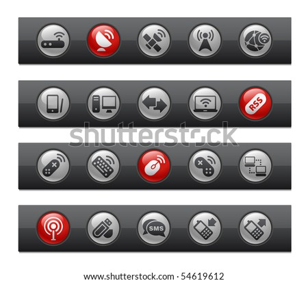Wireless & Communications // Button Bar Series - stock vector
