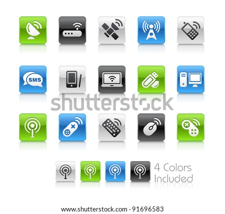Wireless Communications Buttons  / The file Includes 4 color versions in different layers. - stock vector
