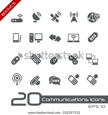 Wireless Communications Icons // Basics - stock vector