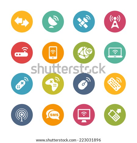 Wireless & Communications Icons // Fresh Colors Series ++ Icons and buttons in different layers, easy to change colors ++ - stock vector