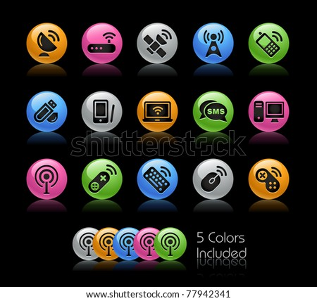Wireless & Communications Icons// Gelcolor Series -------It includes 5 color versions for each icon in different layers --------- - stock vector