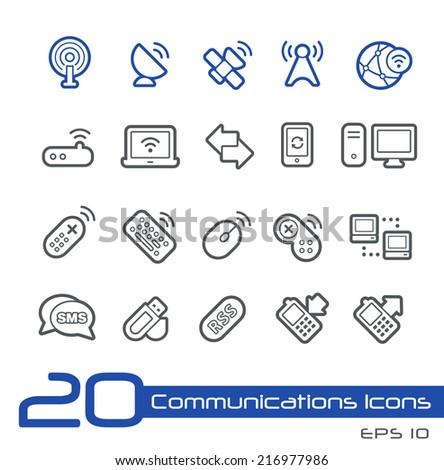 Wireless Communications Icons // Line Series - stock vector