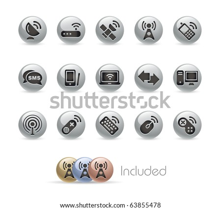Wireless & Communications // Metal Round Series --- It includes 4 color versions for each icon in different layers--- - stock vector