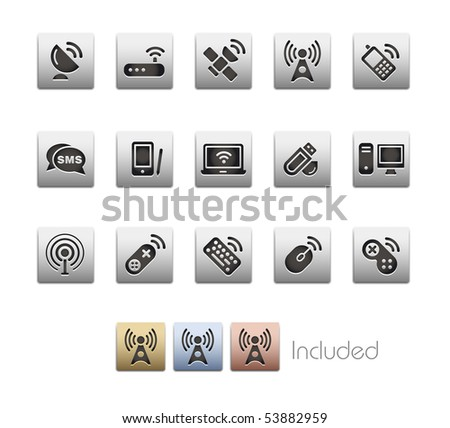 Wireless & Communications // Metallic Series - It includes 4 color versions for each icon in a different layer. - stock vector