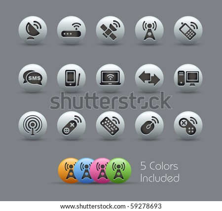Wireless & Communications // Pearly Series -------It includes 5 color versions for each icon in different layers --------- - stock vector