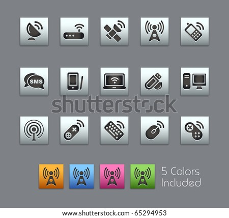 Wireless & Communications // Satinbox Series -------It includes 5 color versions for each icon in different layers --------- - stock vector