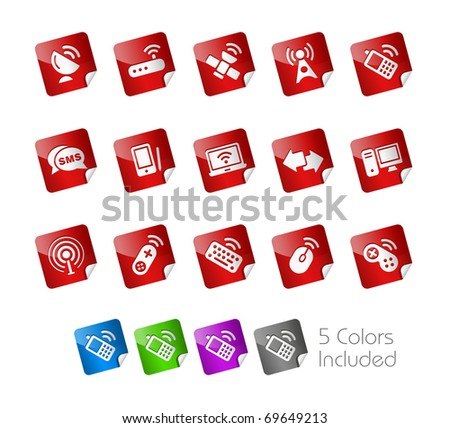 Wireless & Communications  // Stickers Series -------It includes 5 color versions for each icon in different layers --------- - stock vector