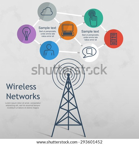 wireless data network technology vector illustration - stock vector