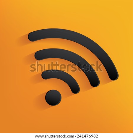 Wireless design on yellow background,clean vector - stock vector