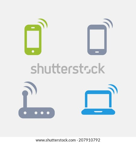 Wireless Device Icons. Granite Series. Simple glyph style icons in 4 versions. The icons are designed at 32x32 pixels. - stock vector
