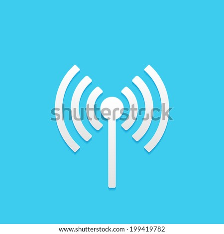 wireless, flat icon isolated on a blue background for your design, vector illustration - stock vector