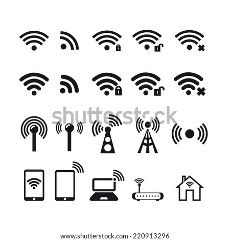 Wireless  icon. Basic icons. - stock vector