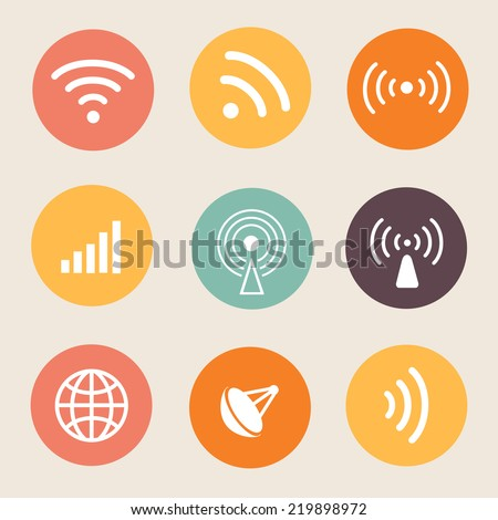 Wireless icon Vector illustration on circle.  - stock vector
