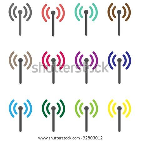 Wireless icons - stock vector