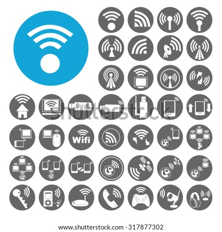 Wireless icons set. Illustration EPS10 - stock vector