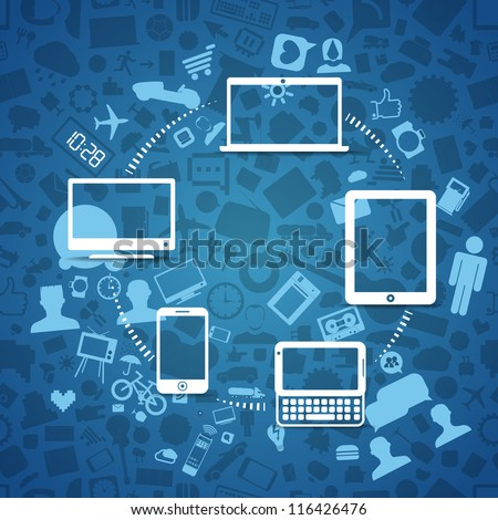 Wireless information fransfer across modern gadgets - stock vector