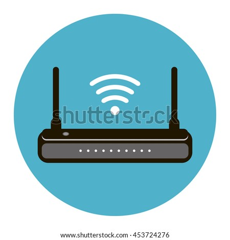 Wireless internet connection router icon. Vector illustration flat design isolated - stock vector