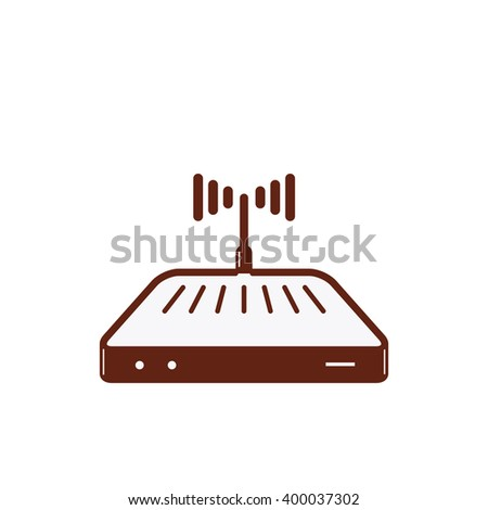 Wireless internet connection router. Wi-fi router isolated illustration. Wi fi router logo concept. Network access. Vector silhouette wi-fi router icon. Wi fi router icon. Black white version. - stock vector