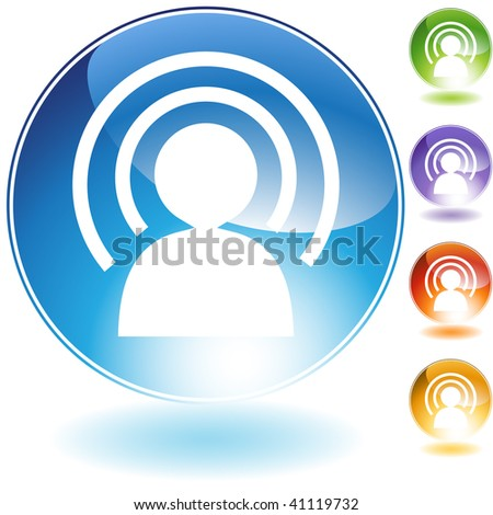 Wireless man crystal icon isolated on a white background.