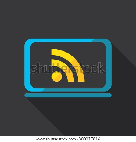 Wireless network and computer. Flat icon design. - stock vector