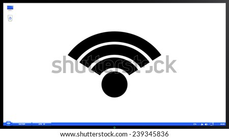 Wireless Network Icon. Isolated on white background. Specular reflection. Made vector illustration - stock vector
