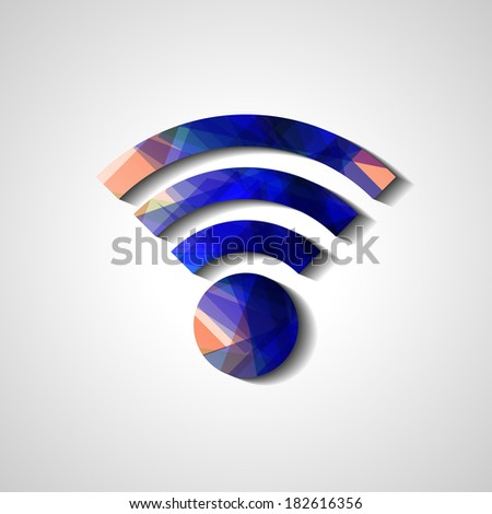 Wireless network symbol, abstract style illustration - stock vector