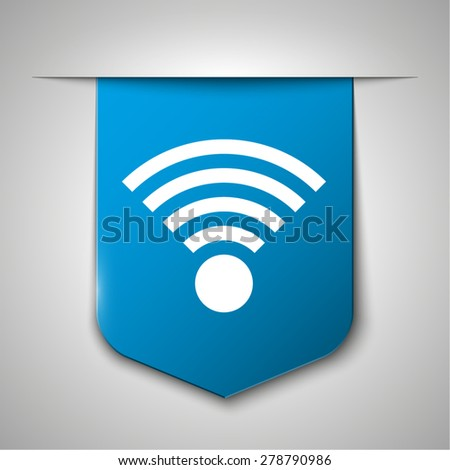 Wireless Network Symbol vector icon on blue book bookmark - stock vector