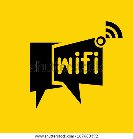 wireless network symbol, wifi symbol on yellow background