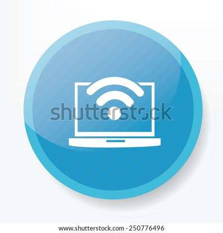 Wireless on blue button,clean vector - stock vector