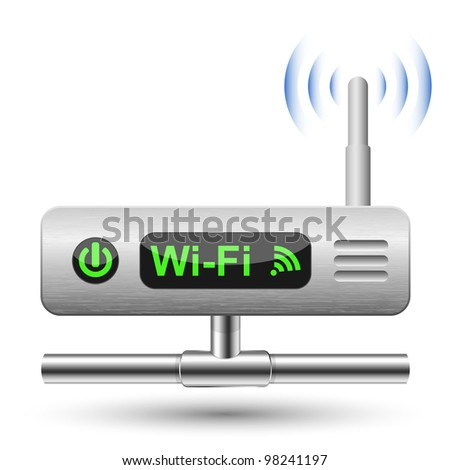 Wireless Router Icon with a LAN connection. Vector Illustration - stock vector