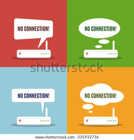 Wireless router with error message. Flat design style. Concept of low wireless signal or disconnection. Errors messages template. - stock vector