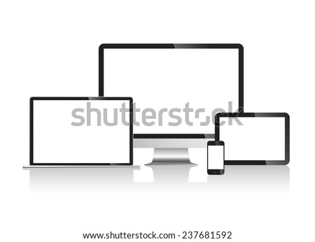 Wireless technologies from the apple store with copy space in white background. - stock vector