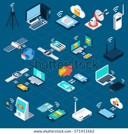 Wireless technologies isometric icons set with mobile communication devices 3d vector illustration - stock vector