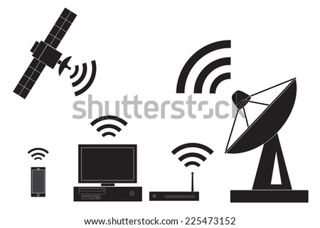 Wireless technology and communication icons vector. - stock vector