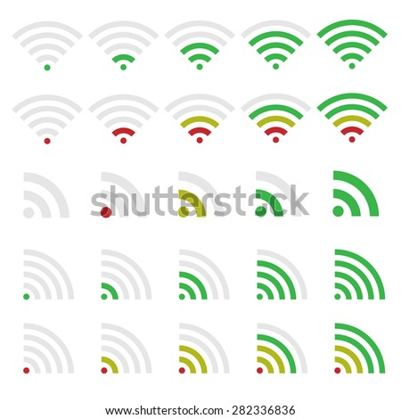 Wireless technology and Network icon set. Wi-fi symbols. - stock vector