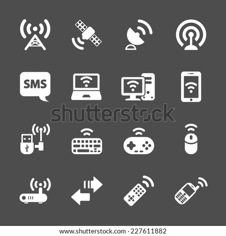wireless technology communication icon set, vector eps10. - stock vector