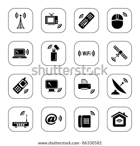 Wireless technology icons - BW series - stock vector