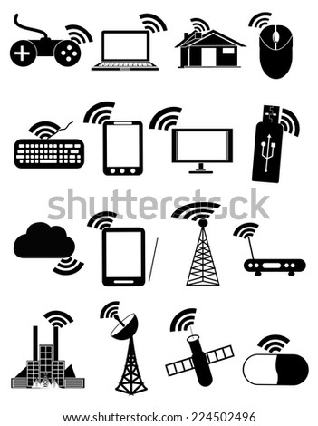 Wireless technology icons set - stock vector