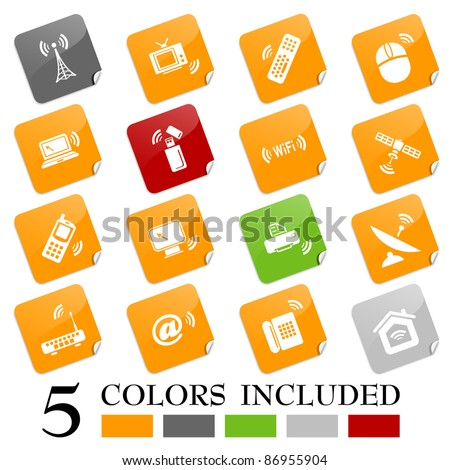 Wireless technology icons - sticky series - stock vector
