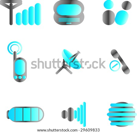 wireless telecommunications icons - stock vector