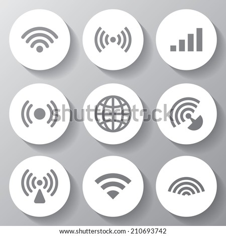 Wireless vector white icons set. EPS 10 format - stock vector