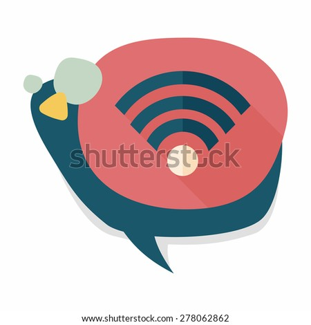 Wireless wifi flat icon with long shadow - stock vector